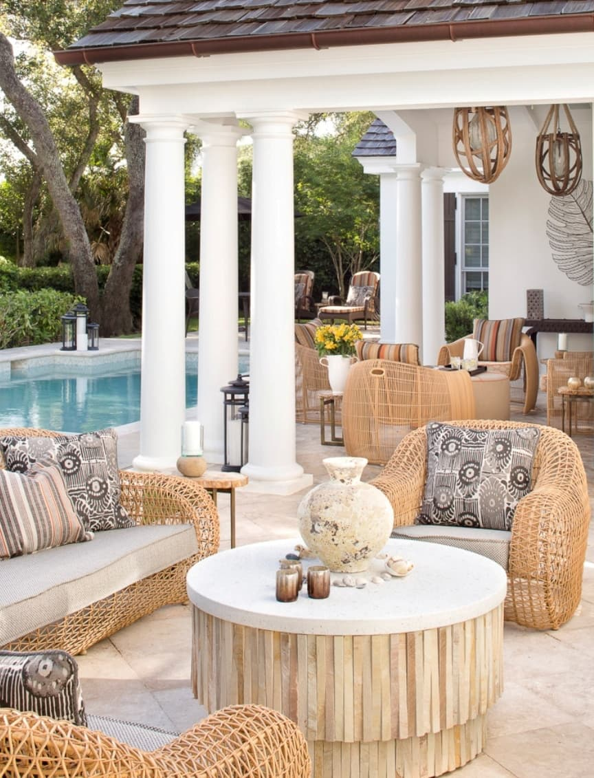 Coastal Estate Poolside Veranda © Amy Weaver Interior Design San Francisco